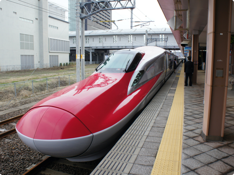 Shinkansen on a station