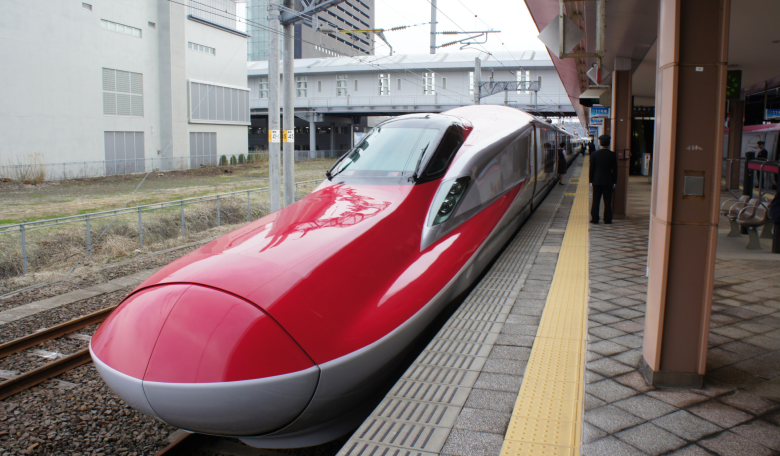 Shinkansen on a train stop