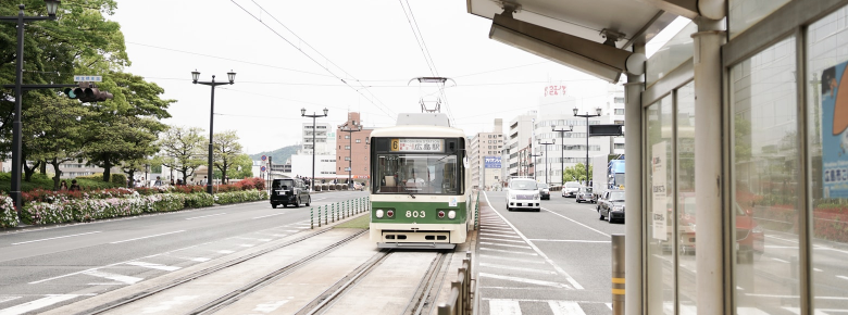 Japanese Train riding on a street